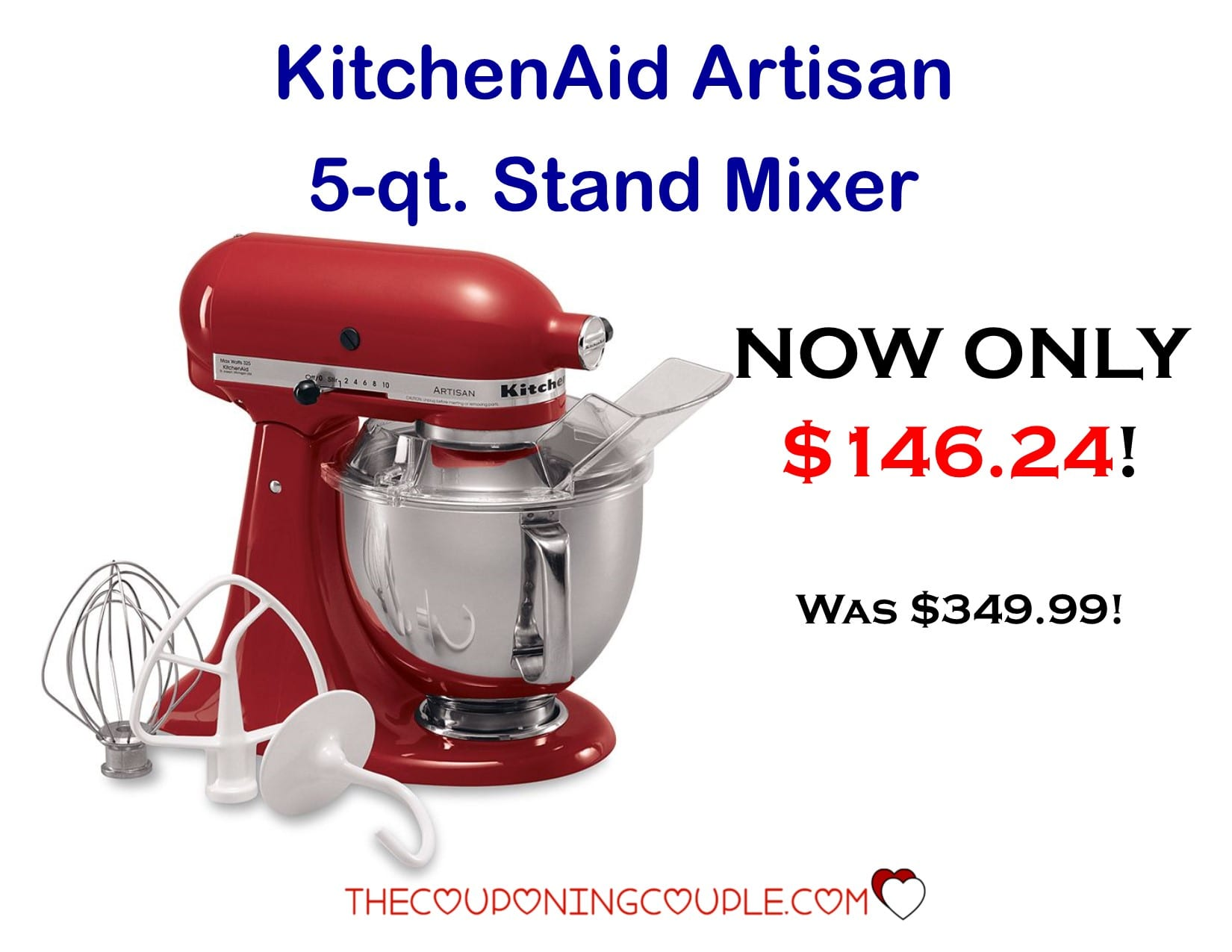 KitchenAid Artisan 5 Quart Mixer- Only $146.24! {Down from $349.99}