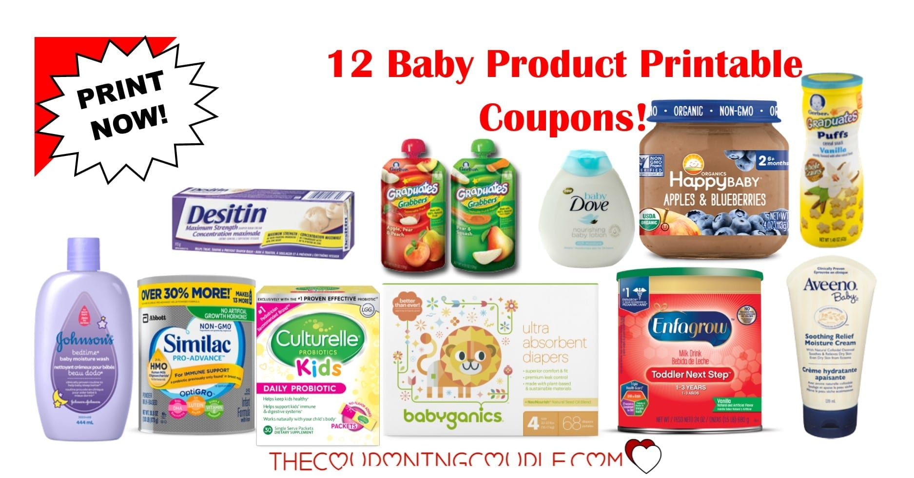 12 baby product printable coupons ~ over $27 in savings!