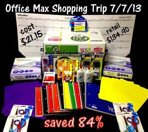 OfficeMax shopping trip on 7-7