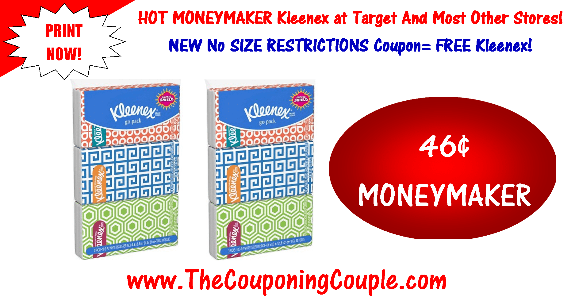 photograph regarding Kleenex Printable Coupon named Very hot Kleenex MONEYMAKER ~ PRINT NO Dimensions Restriction Coupon Currently!