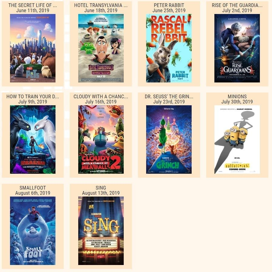 Summer Movie Programs for kids