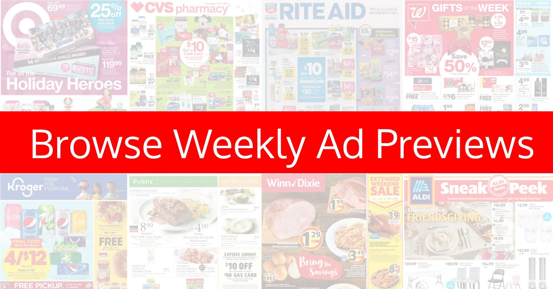 Weekly Ad Previews ~ Target, CVS, Wags, Publix, Dollar General & MORE