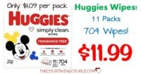 Deal on Huggies Wipes $11.99 for 11 Packs Shipped!